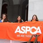 Genete & Christina hold an ASPCA sign during a press conference at Animal Lobby Day in Sacramento, CA. (Feb. 2009)