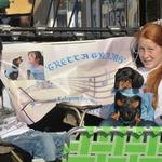 Leslie & Katie help promote Gretta during the Centennial parade.